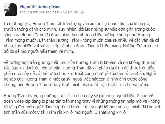 huong tram thua nhan nang mui2 Hương Tràm thừa nhận nâng mũi